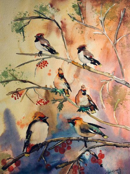 Aquarellmalerei, Landschaft, Vogel, Aquarell