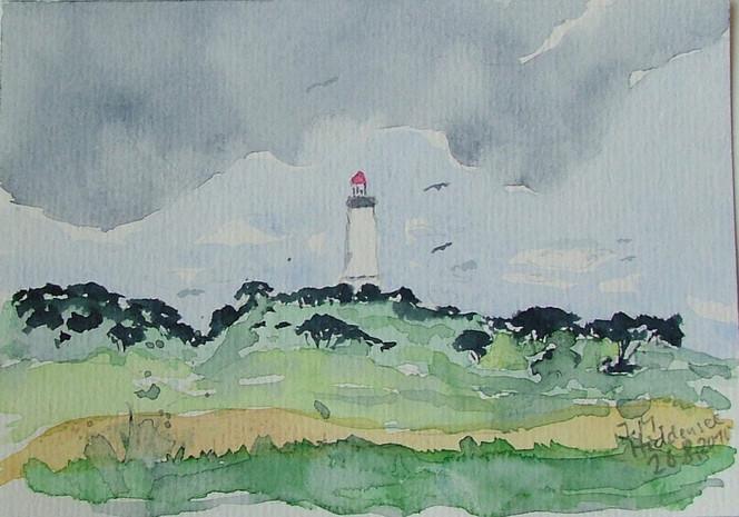 Hiddensee, Dornbusch, Leuchtturm, Aquarell