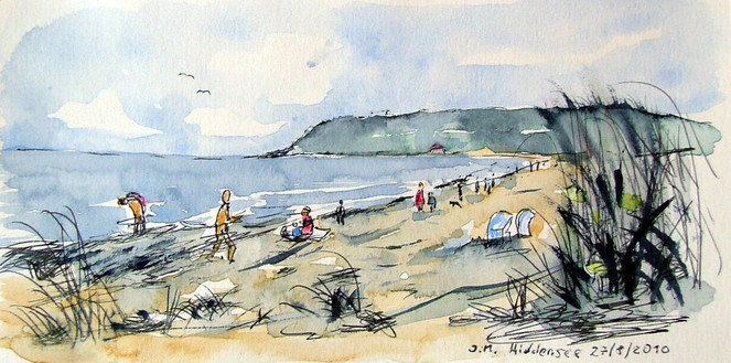 Vitte, Strand, Hiddensee, Aquarell