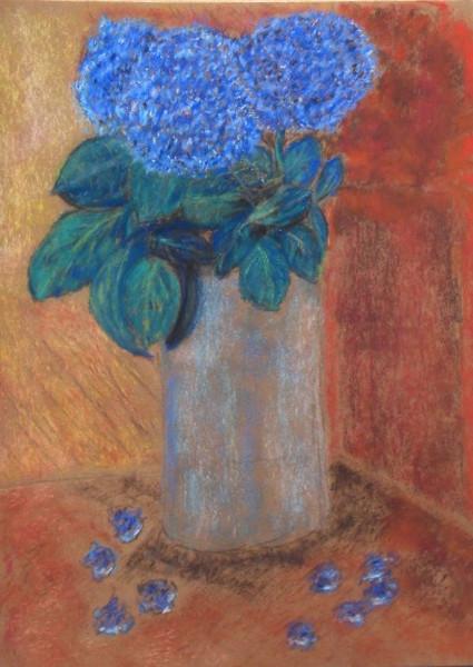 Hortensien, Stillleben, Blumen, Blau, Orange, Rot