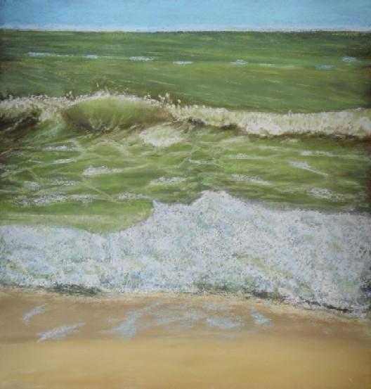 Welle, Grün, Brandung, Meer, Pastellmalerei, Malerei