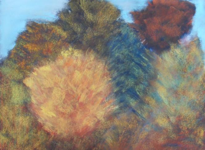 Pastellmalerei, Herbst, Baum, Strauch, Malerei, Herbstfarben