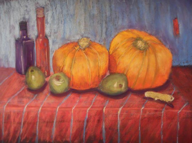 Pastellmalerei, Tischdecke, Apfel, Flasche, Stillleben, Ingwer