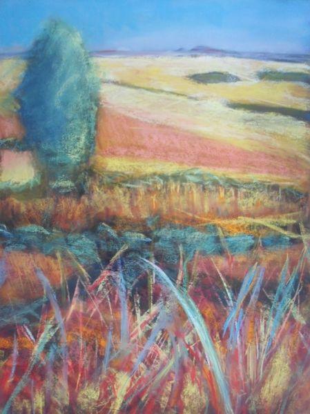 Baum, Landschaft, Pastellmalerei, Feld, Gras, Sonne