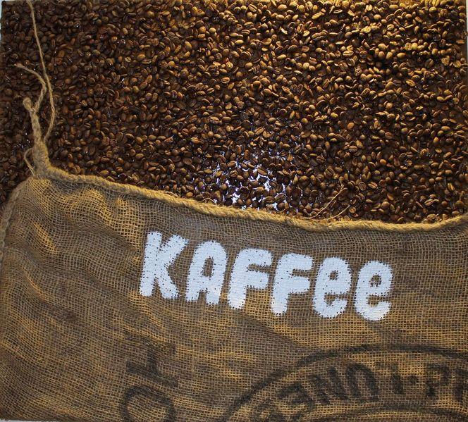 bild collage kaffeebohnen kaffee acrylfarbe auf holz von margarita sch n bei kunstnet. Black Bedroom Furniture Sets. Home Design Ideas