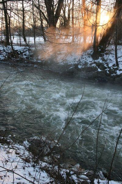 Kalt, Ufer, Früh, Amper, Winter, Strömung