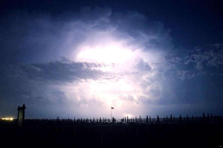 Abend, Donner, Himmel, Regen, Italien, Gewitter