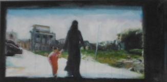 Junge frau, Kind, Ausgehen, Childwoman, Hand, Palästinenserin