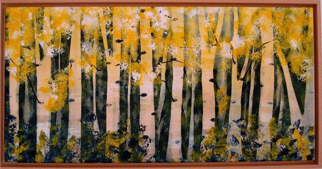 Gelb, Abstrakt, Birkenwald, Grün, Malerei