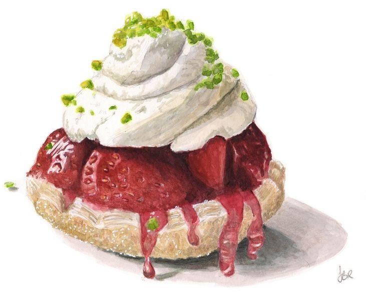 Torte, Aquarellmalerei, Erdbeeren, Aquarellillustration, Essen, Rot
