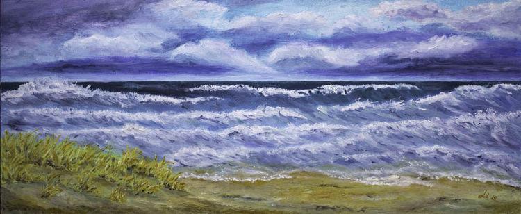 Ostsee, Strand, Welle, Meer, Himmel, Malerei