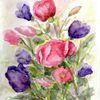 Blüte, Blumen, Rot, Aquarellmalerei