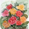 Strauß, Blüte, Aquarellmalerei, Rose
