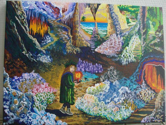 Landschaft, Anderswelt, Höhle, Fantasie, Malerei, Weg