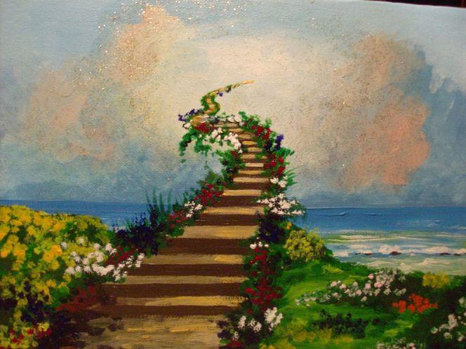 Fantasie, Treppe, Licht, Landschaft, Malerei
