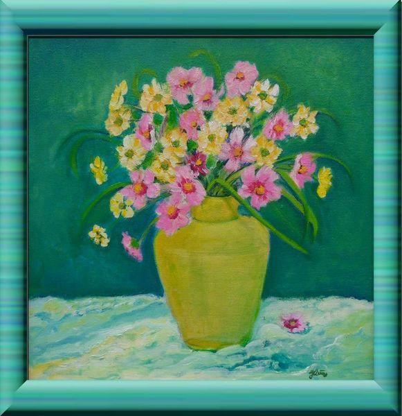 bl menchen in der gelben vase stuhl vasa blumen malerei vase von jadwiga rudnicka bei kunstnet. Black Bedroom Furniture Sets. Home Design Ideas