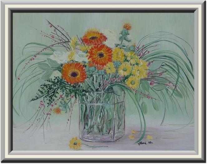 Winter, Glas, Blumen, Wasser, Malerei