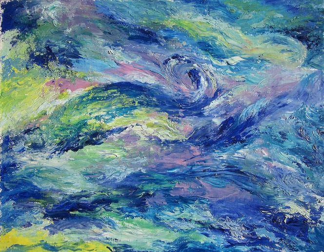 Welle, Ölmalerei, Lebendigkeit, Abstrakt, Wasser, Malerei