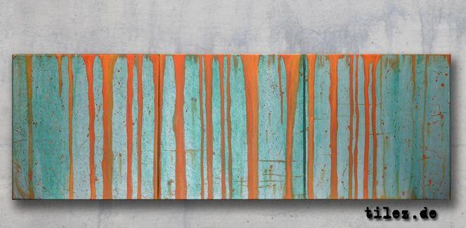 Spuren, Streifen, Orange, Silber, Grün, Malerei