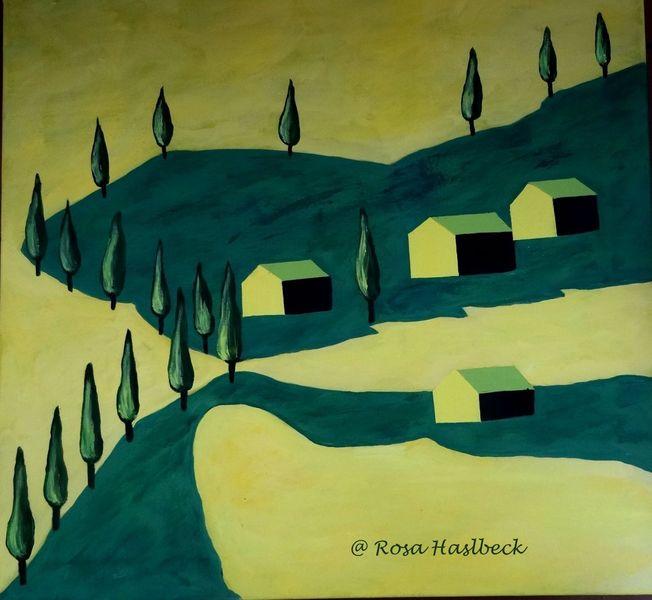 Gelb, Häuser, Toskana landschaft, Malerei, Italien, Toskana