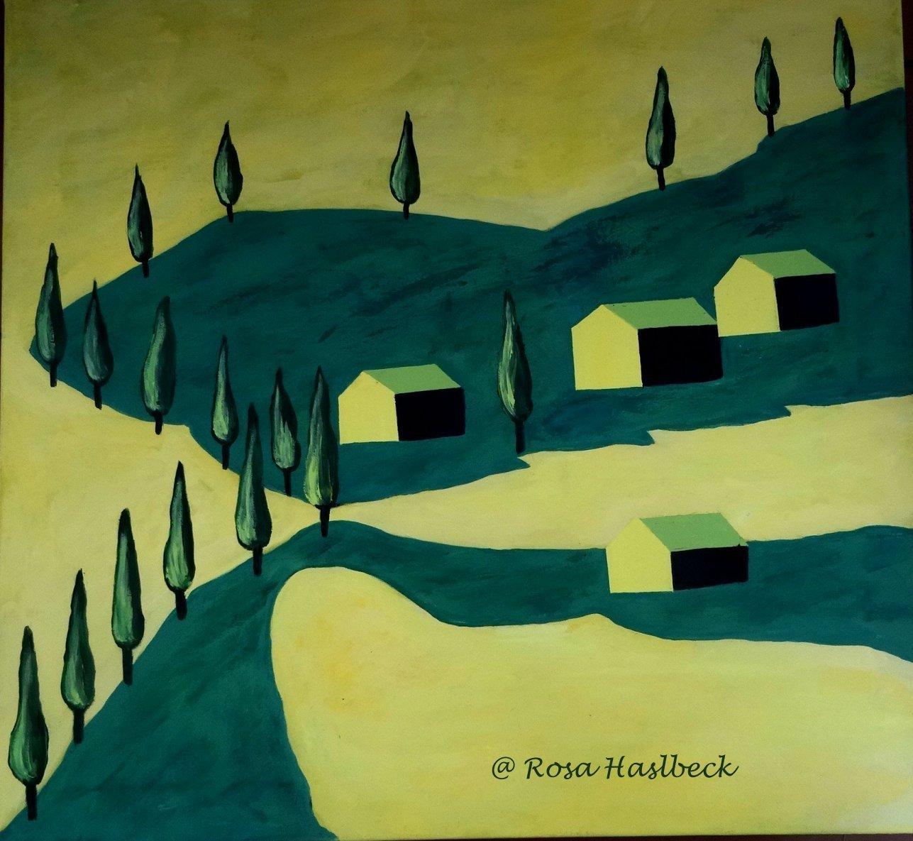 Acrylbild Toskana - Malen, Baum, Gelb, Haus von Rosa ...