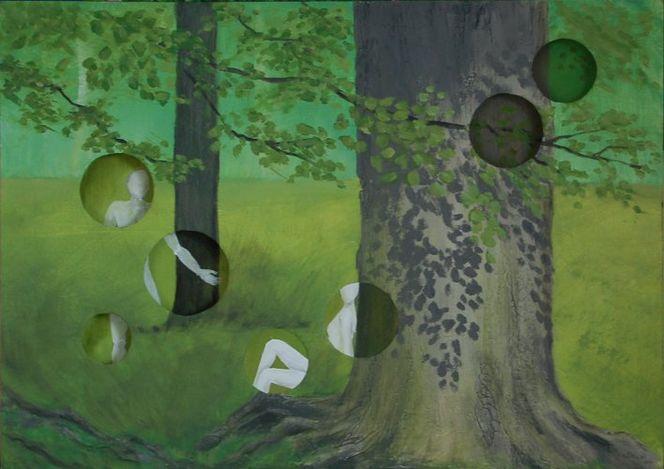 Wald, Grün, Parallelwelt, Paar, Malerei,