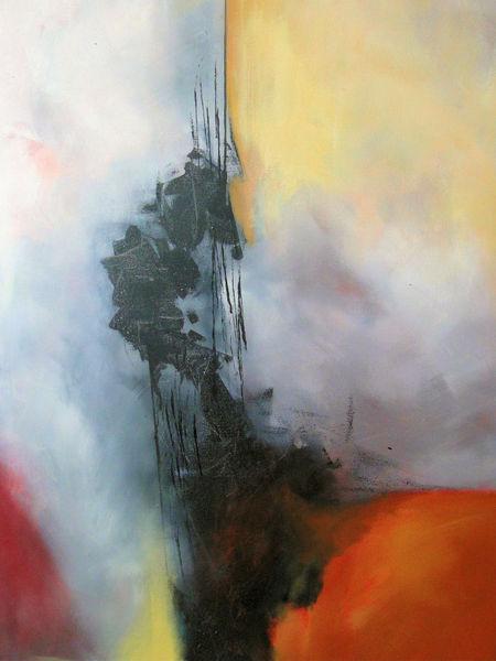 Acrylmalerei, Rot, Weiß, Gelb, Malerei,