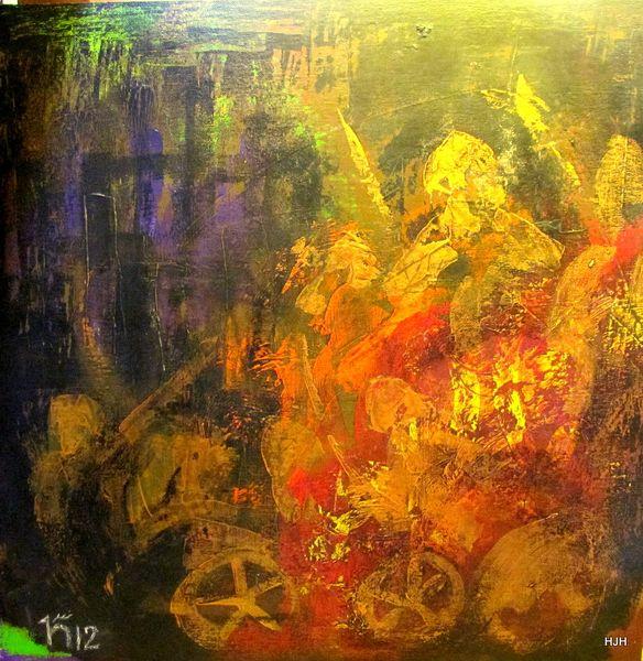 Streitwagen, Gold, Rüstung, Malerei, Abstrakt