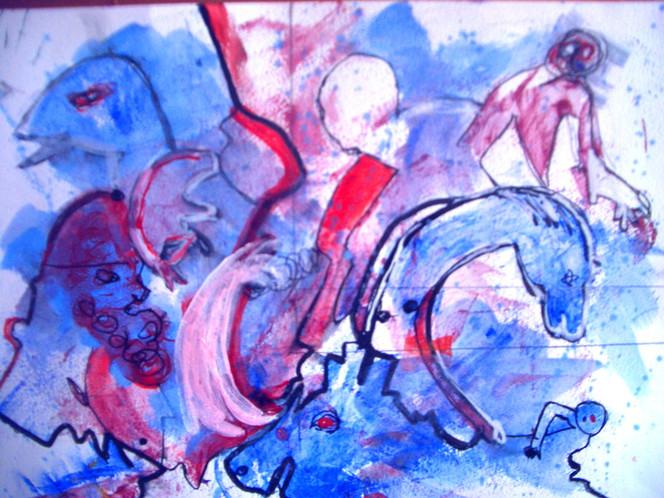 Tiere, Wasser, Menschen, Malerei, Surreal