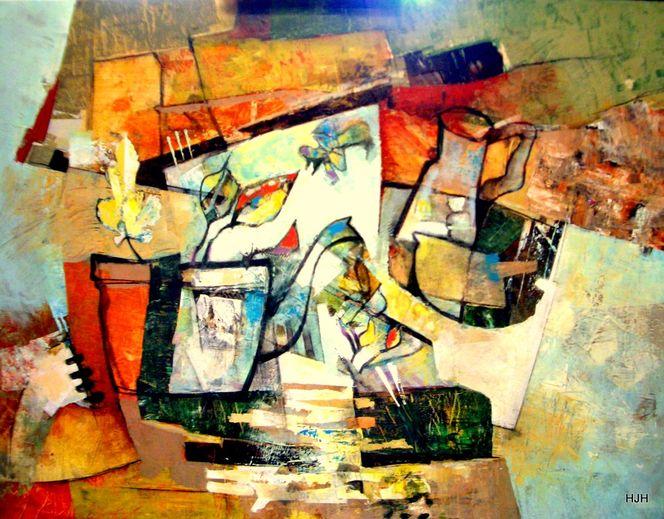 Pflanzen, Pernod6, Topf, Malerei, Abstrakt, Collage