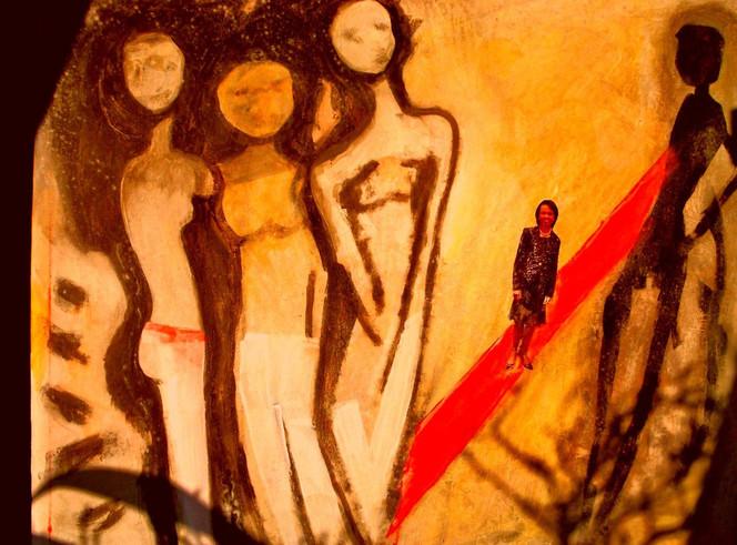 Condoleeza, Gespenst, Teppich, Malerei, Abstrakt