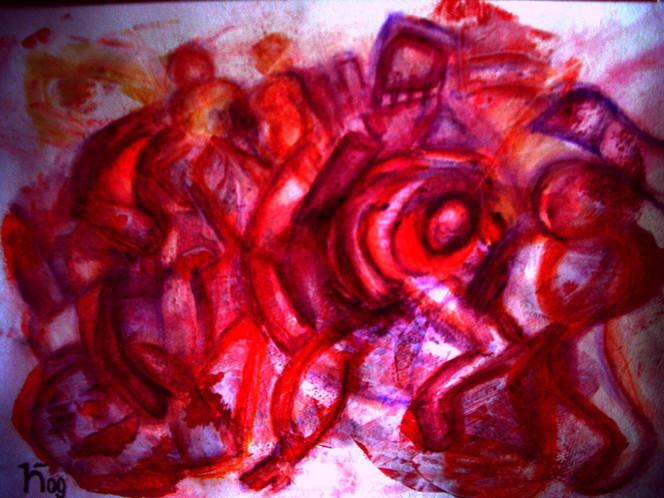 Kraft, Tod, Brutalität, Malerei, Abstrakt