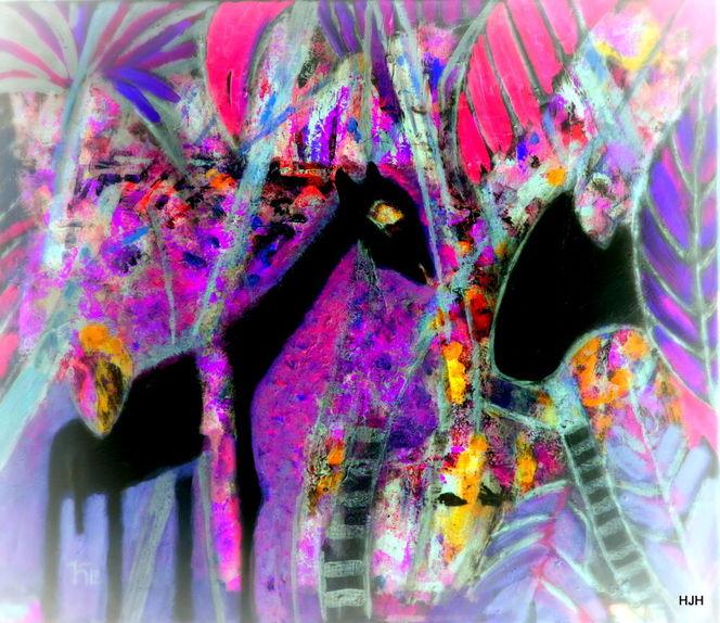 Kalb, Tiere, Mond, Malerei, Abstrakt