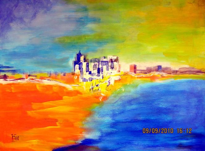 Wasser, Haus, Wolken, Malerei, Abstrakt, Fata