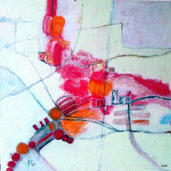 Landebahn, Feld, Rot, Malerei, Abstrakt