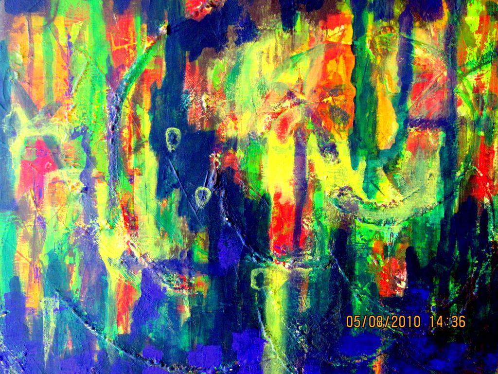 Kunstnet werke malerei abstrakt regenwald