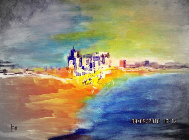 Wolken, Wasser, Haus, Malerei, Abstrakt, Meer