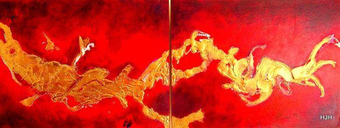 Feuer, Drache, Gold, Rot, Malerei, Abstrakt