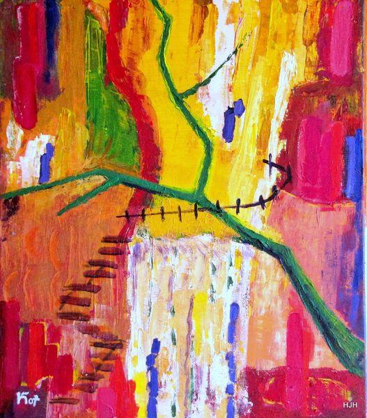 Wasserfall, Treppe, Äste, Malerei, Abstrakt