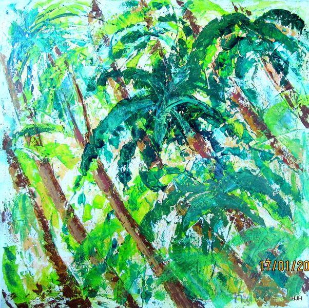 Urwald, Palmen, Meer, Malerei, Abstrakt