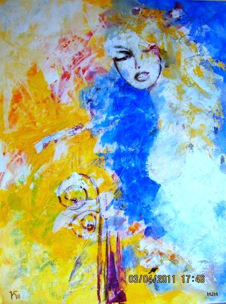 Blau, Gesicht, Wind, Frau, Malerei, Menschen