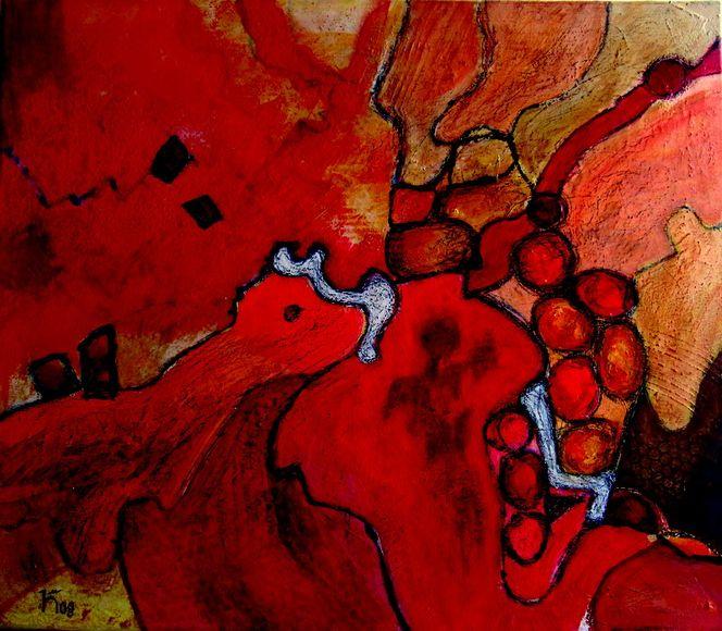 Hund, Stein, Rot, Malerei, Abstrakt