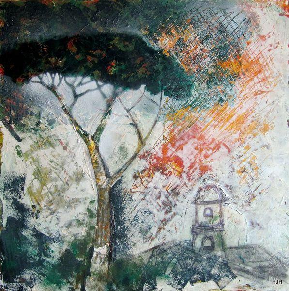 Pinie, Kirche, Baum, Malerei, Abstrakt, Sonne