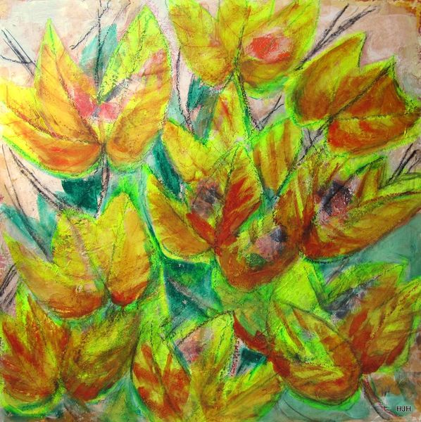 Blätter, Oktober, Wein, Malerei, Abstrakt
