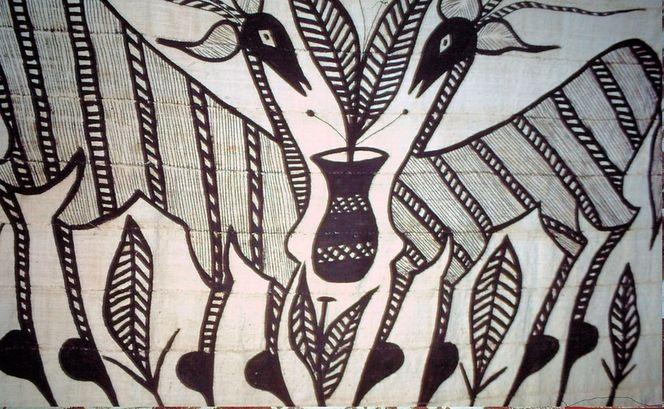 Schwarz, Afrika, Bock, Malerei, Abstrakt