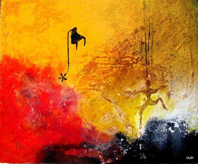 Tanz, Stuhl, Vulkan, Malerei, Surreal