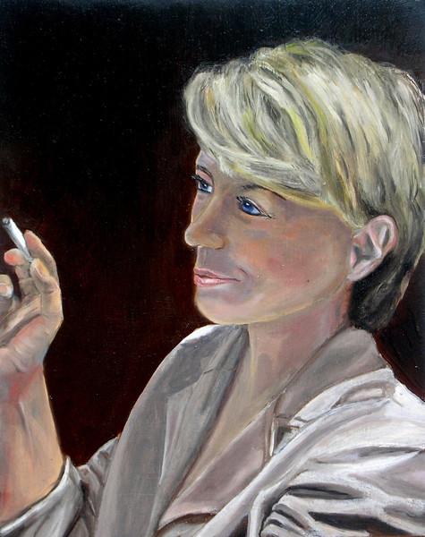 Holz, Ölmalerei, Weiblich, Zigarette, Frau, Gesicht