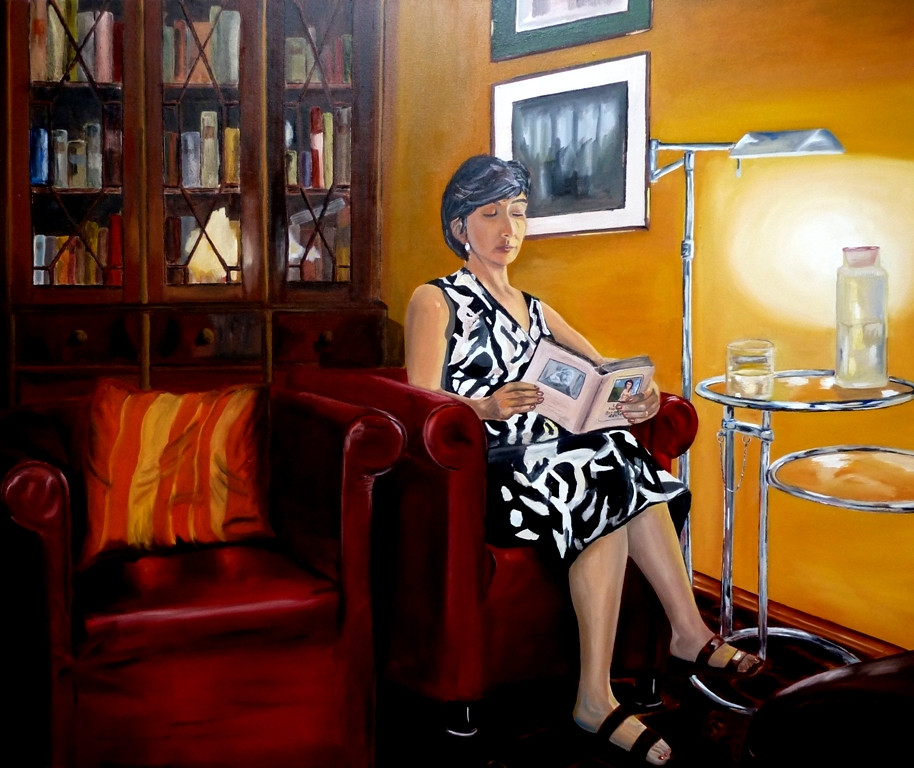 Bild interieur lampe lesen sessel von ulis bei kunstnet for Sessel lesen