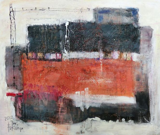 Verschneidungen quadrate, Feld, Rot schwarz, Orange, Abstrakt, Malerei
