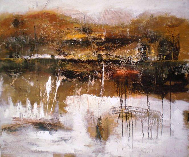 See, Orange, Rot orange, Landschaft, Abstrakt, Malerei